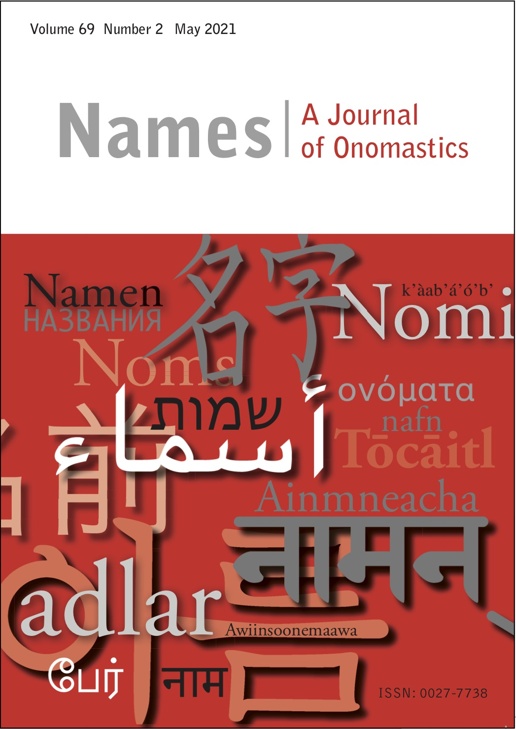 Cover of Names Volume 69 Number 2 May 2021